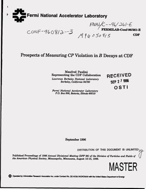 Primary view of object titled 'Prospects of measuring CP violation in B decays at CDF'.