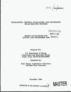 Primary view of object titled 'Developing, testing, evaluating and optimizing solar heating systems. Project status report, August--September 1996'.