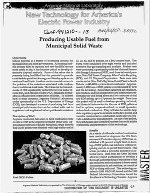 Primary view of object titled 'Producing usable fuel from municipal solid waste'.