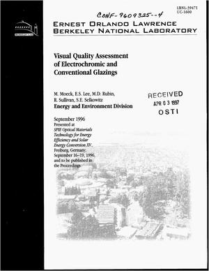 Primary view of object titled 'Visual quality assessment of electrochromic and conventional glazings'.