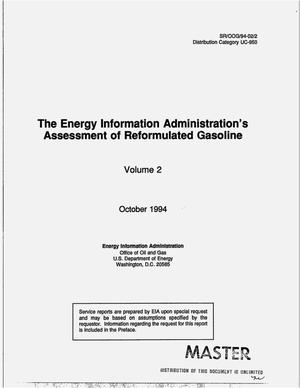 Primary view of object titled 'The Energy Information Administration`s assessment of reformulated gasoline. Volume 2'.