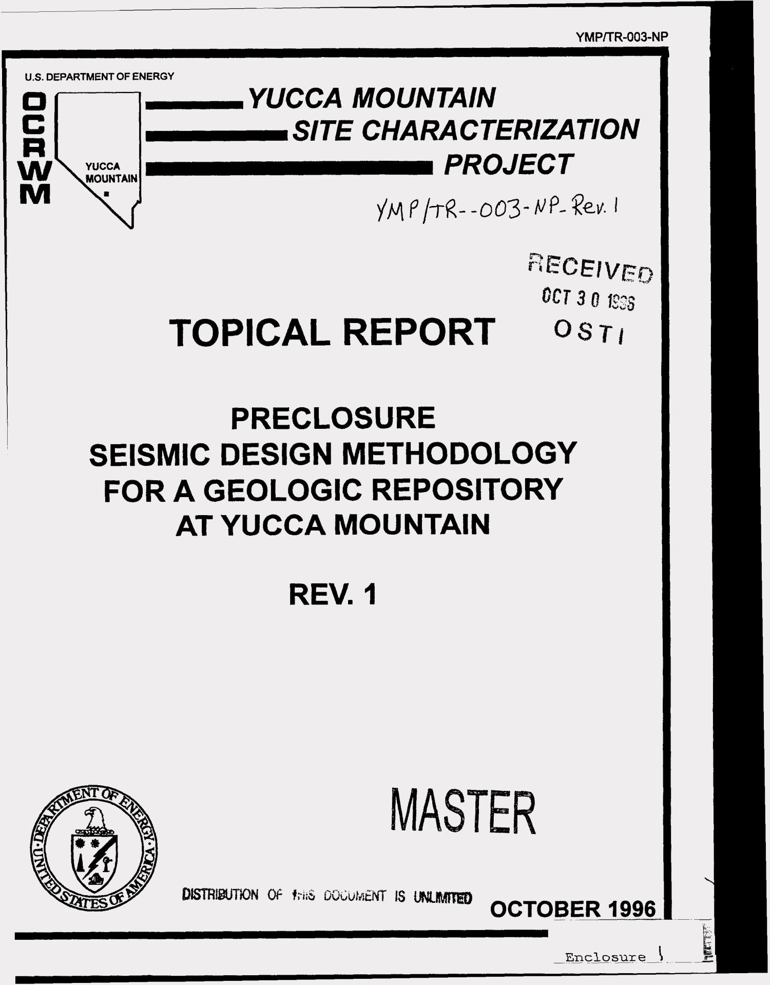Preclosure seismic design methodology for a geologic repository at Yucca Mountain. Topical report YMP/TR-003-NP                                                                                                      [Sequence #]: 1 of 129