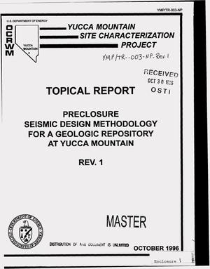 Primary view of object titled 'Preclosure seismic design methodology for a geologic repository at Yucca Mountain. Topical report YMP/TR-003-NP'.