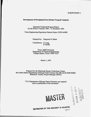 Primary view of object titled 'Development of precipitated iron Fischer-Tropsch catalysts. Quarterly technical progress report, October 1, 1994--December 31, 1994'.