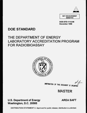 Primary view of object titled 'DOE standard: The Department of Energy Laboratory Accreditation Program for radiobioassay'.