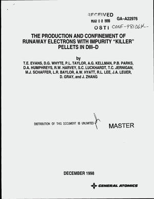 Primary view of object titled 'The production and confinement of runaway electrons with impurity killer pellets in DIII-D'.