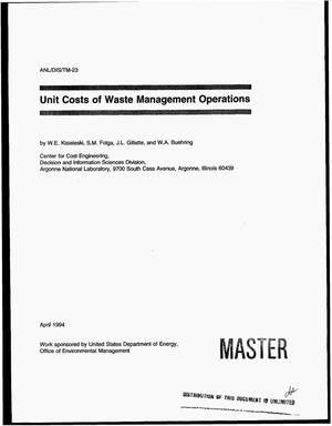 Primary view of object titled 'Unit costs of waste management operations'.