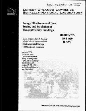 Primary view of object titled 'Energy effectiveness of duct sealing and insulation in two multifamily buildings'.