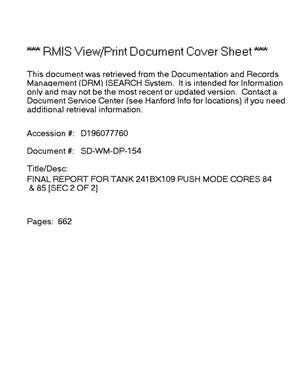 Primary view of object titled 'Final report for tank 241-BX-109, push mode cores 84 and 85'.