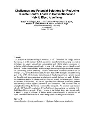 Primary view of object titled 'Challenges and Potential Solutions for Reducing Climate Control Loads in Conventional and Hybrid Vehicles'.