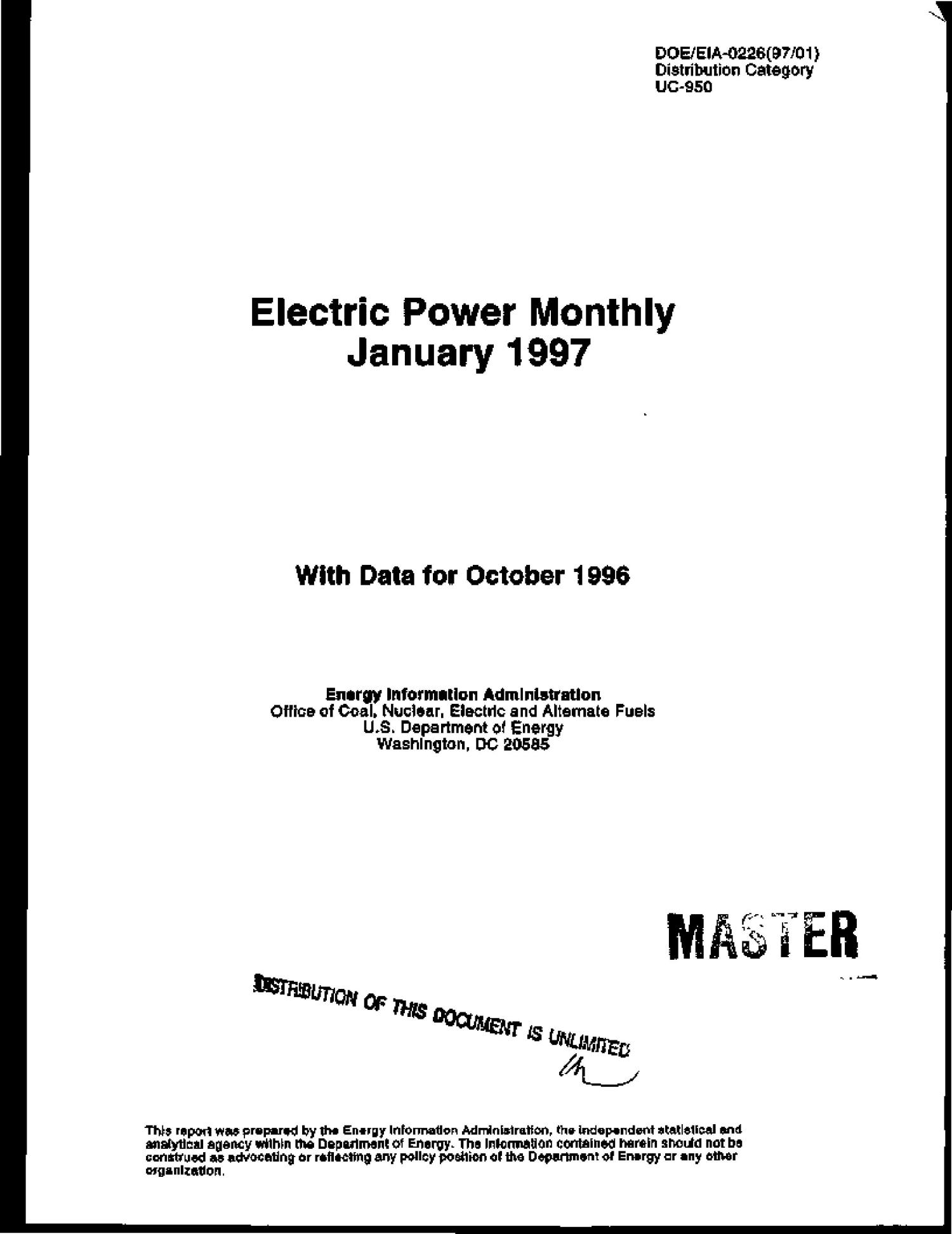 Electric power monthly January 1997 with data for October 1996                                                                                                      [Sequence #]: 1 of 177