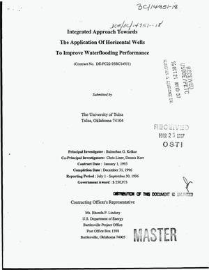 Primary view of object titled 'Integrated approach towards the application of horizontal wells to improve waterflooding performance. Quarterly report, July 1, 1996--September 30, 1996'.