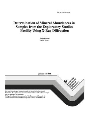 Primary view of object titled 'Determination of mineral abundances in samples from the exploratory studies facility using x-ray diffraction'.