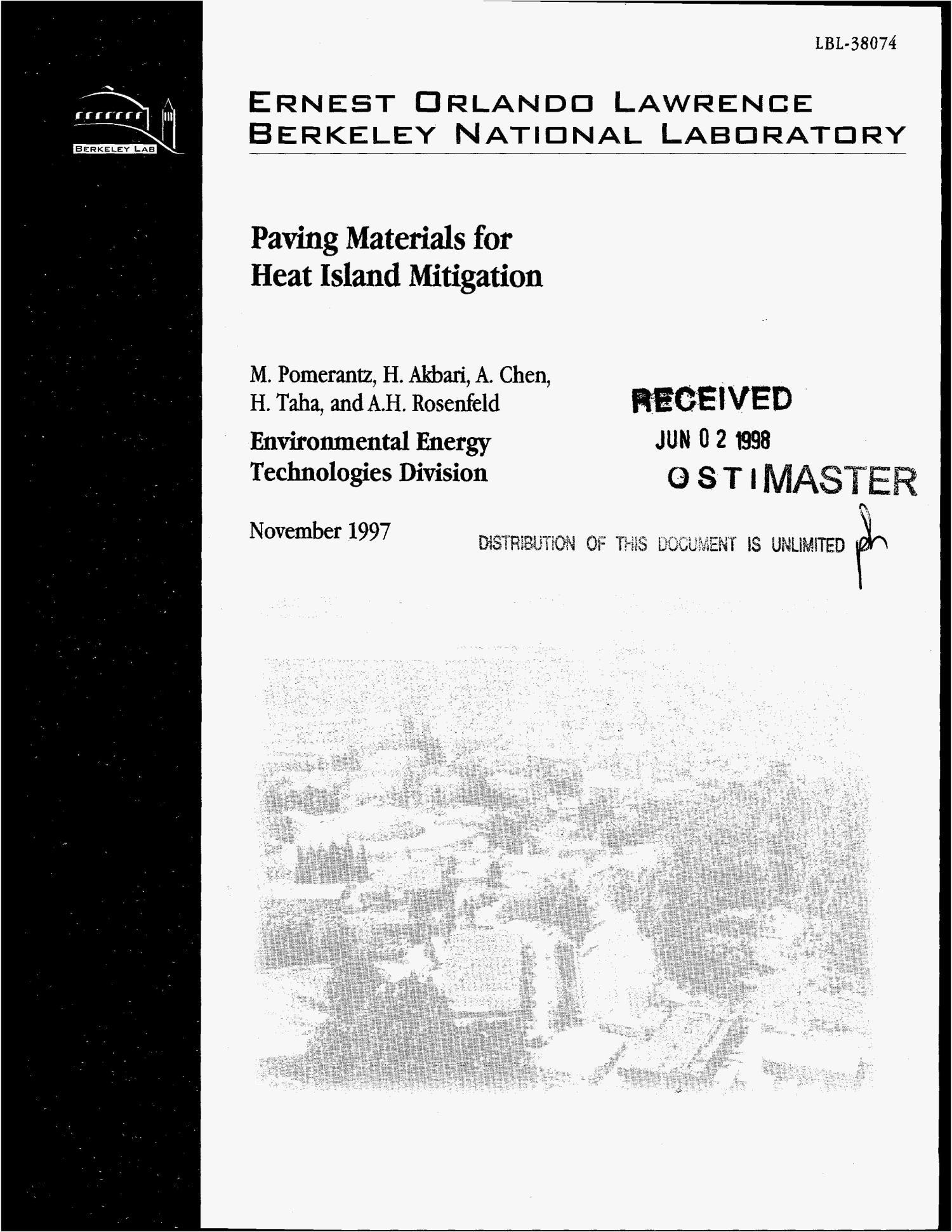 Paving materials for heat island mitigation                                                                                                      [Sequence #]: 1 of 29