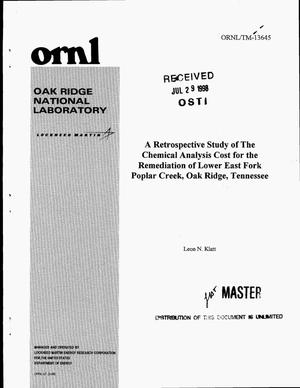 Primary view of object titled 'A retrospective study of the chemical analysis cost for the remediation of Lower East Fork Poplar Creek, Oak Ridge, Tennessee'.