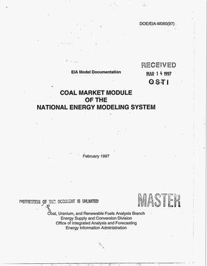 Primary view of object titled 'Model documentation coal market module of the National Energy Modeling System'.