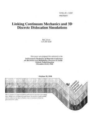 Primary view of object titled 'Linking continuum mechanics and 3D discrete dislocation simulations'.