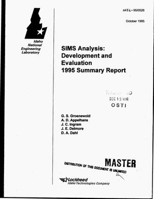 Primary view of object titled 'SIMS analysis: Development and evaluation 1995 summary report'.