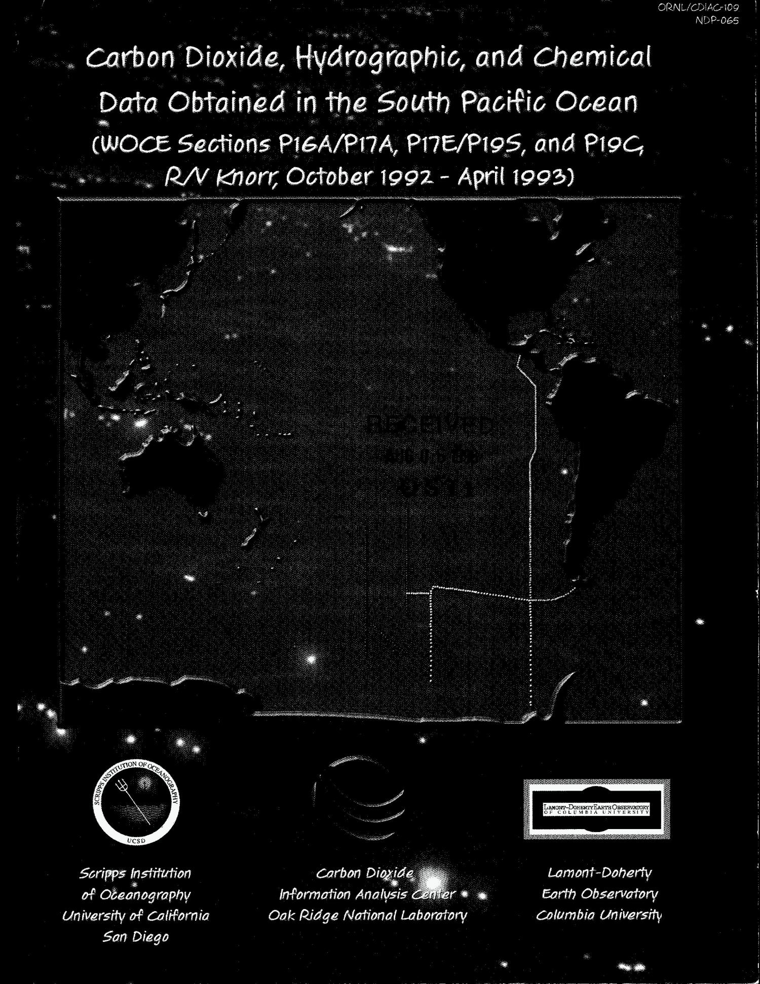 Carbon dioxide, hydrographic, and chemical data obtained in the South Pacific Ocean (WOCE Sections P16A/P17A, P17E/P19S, and P19C, R/V Knorr, October 1992--April 1993)                                                                                                      [Sequence #]: 1 of 191
