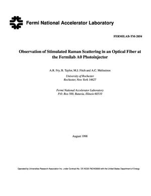 Primary view of object titled 'Observation of stimulated raman scattering in an optical fiber at the Fermilab A0 photoinjector'.