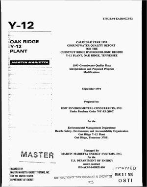 Primary view of object titled 'Calendar year 1993 groundwater quality report for the Chestnut Ridge Hydrogeologic Regime Y-12 Plant, Oak Ridge, Tennessee. 1993 Groundwater quality data interpretations and proposed program modifications'.