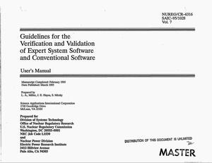 Primary view of object titled 'Guidelines for the verification and validation of expert system software and conventional software: User`s manual. Volume 7'.