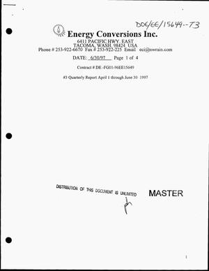 Primary view of object titled 'Develop the dual fuel conversion system for high output, medium speed diesel engines. Quarterly report number 3, April 1--June 30, 1997'.