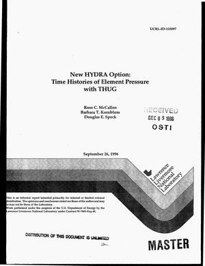 Primary view of object titled 'New HYDRA option: Time histories of element pressure with THUG'.