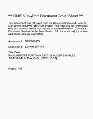 Primary view of object titled 'Final report for Tank 241-T-109, auger samples 95-AUG-040 and 95-AUG-041'.
