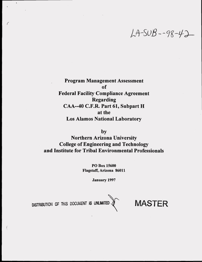 Program Management Assessment Of Federal Facility Compliance