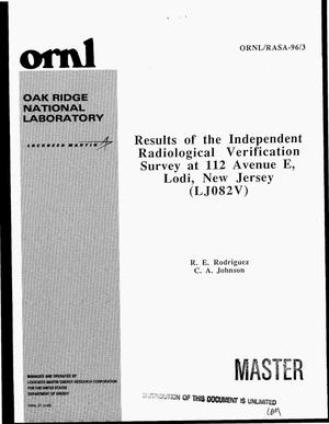 Primary view of object titled 'Results of the independent radiological verification survey at 112 Avenue E, Lodi, New Jersey (LJ082V)'.