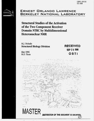 Primary view of object titled 'Structural studies of the activation of the two component receiver domain NTRC by multidimensional heteronuclear NMR'.