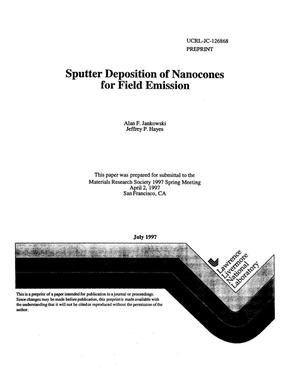 Primary view of object titled 'Sputter deposition of nanocones for field emission'.