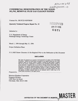 Primary view of object titled 'Commercial demonstration of the NOXSO SO{sub 2}/NO{sub x} removal flue gas cleanup system. Quarterly technical progress report No. 13, March 1, 1994--May 31, 1994'.