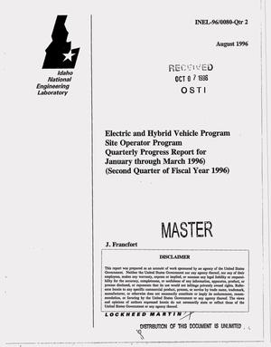 Primary view of object titled 'Electric and Hybrid Vehicle Program, Site Operator Program. Quarterly progress report, January--March 1996'.