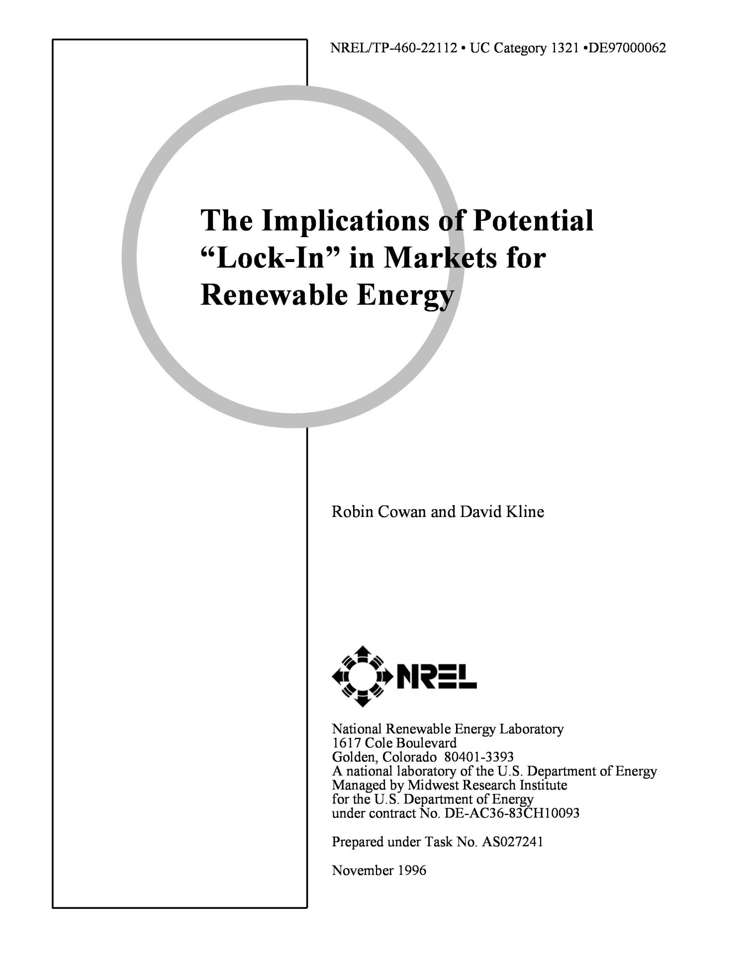 The implications of potential `lock-in` markets for renewable energy                                                                                                      [Sequence #]: 2 of 27