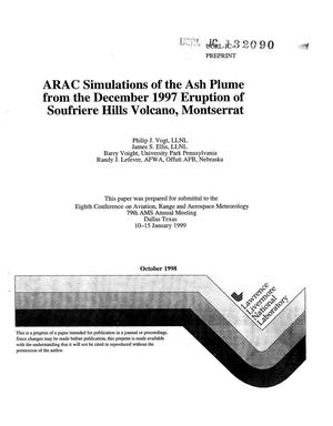 Primary view of object titled 'ARAC simulations of the ash plume from the December 1997 eruption of Soufriere Hills Volcano, Montserrat'.