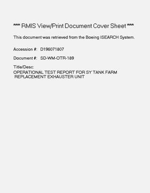 Primary view of object titled 'Operational test report for SY tank farm replacement exhauster unit'.
