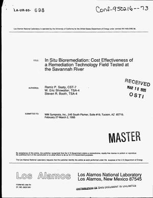 Primary view of object titled 'In situ bioremediation: Cost effectiveness of a remediation technology field tested at the Savannah River'.