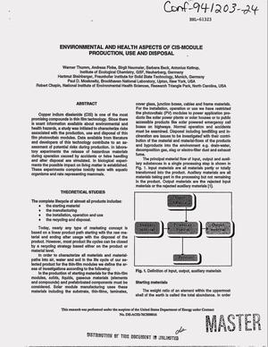 Primary view of object titled 'Environmental and health aspects of CIS-module production, use and disposal'.