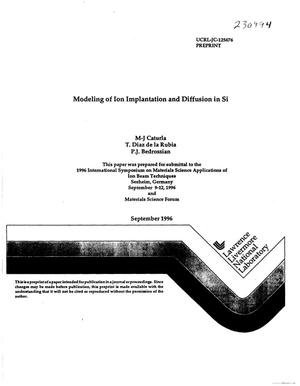 Primary view of object titled 'Modeling of ion implantation and diffusion in Si'.