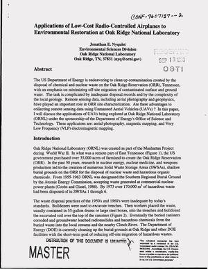 Primary view of object titled 'Applications of low-cost radio-controlled airplanes to environmental restoration at Oak Ridge National Laboratory'.