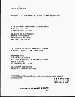 Primary view of object titled 'Kinetics and mechanisms of NOx - char reduction. Quarterly technical progress report, 1 August, 1996--31 October, 1996'.
