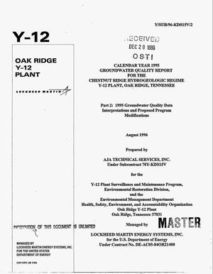 Primary view of object titled 'Calendar year 1995 groundwater quality report for the Chestnut Ridge Hydrogeologic Regime Y-12 Plant, Oak Ridge, Tennessee. Part 2: 1995 groundwater quality data interpretations and proposed program modifications'.