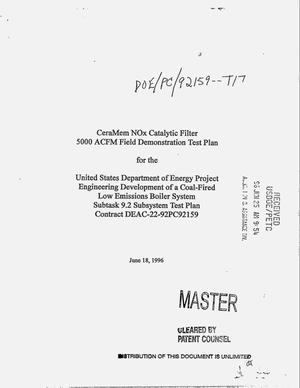 Primary view of object titled 'CeraMem NO{sub x} catalytic filter 5000 ACFM field demonstration test plan: Engineering development of a coal-fired low emissions boiler system: Subtask 9.2, Subsystem test plan'.