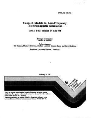 Primary view of object titled 'Coupled models in low-frequency electromagnetic simulation LDRD Final Report 94-ERI-004'.