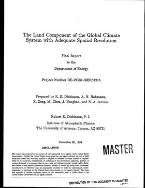 Primary view of object titled 'The land component of the global climate system with adequate spatial resolution. Final report, September 1, 1991--August 31, 1994'.