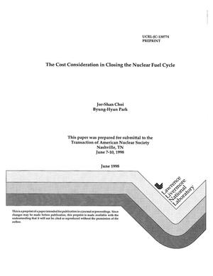 Primary view of object titled 'Cost consideration in closing the nuclear fuel cycle'.
