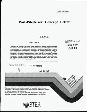 Primary view of object titled 'Post-piledriver concept letter'.