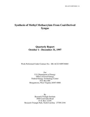 Primary view of object titled 'Synthesis of methyl methacrylate from coal-derived syngas: Quarterly report,, October 1-December 31, 1997'.